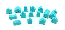 19-Piece Set of Turquoise Meeples (Compatible with Carcassonne & Expansions)