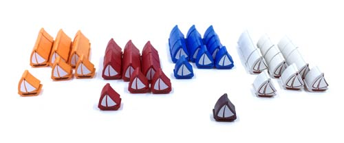 61-Piece 4-Player Set of Small Boats (Compatible with Catan: Seafarers)