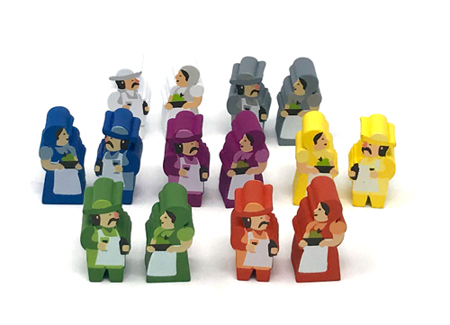 14-Piece Set of Character Meeples for Tuscany